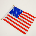"6"" X 9"" DBL Side Vinyl USA Flag w/ Gold Thread & Suction Cup 12 per pk  ON SALE .12 each"