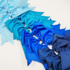 "6"" X 8"" Cheerleader Tail Bows on Gator Clip Mixed Blue Tones .54 ea"