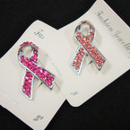 "1.5"" Broach Crystal Stone Pink Ribbon 2 colors .57 ea"