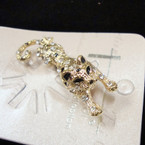 "Highest Quality 2"" Cast Gold Leopard Broach w/ Crystals sold by pc $ 1.35 ea"