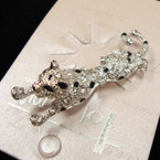 "Highest Quality 2"" Cast Silver Leopard Broach w/ Crystals sold by pc $ 1.35 ea"
