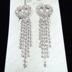 "2.75"" Best Quality Rhinestone Earring w/ Heart sold by pair $ 1.50 ea"
