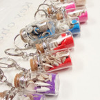 "1.75"" Sea SIde Theme Glass Bottle Keychain w/ Sand & Shells .56 ea"