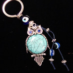Great Value Turquoise Owl Keychain w/ Glass Eye Beads .54 ea