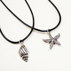 Leather Cord Necklace w/ Silver Starfish & Shell Pend. 24 per pack .33 ea