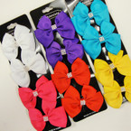 4 Pack Bright Color Gator Clip Bows  w/ Stone Center .54 per set