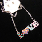"20"" Silver Chain Neck Set w/ Multi Color LOVE Pendant .50 ea set"