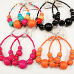 Wood Beads Fashion Earring Mixed Colors   .45 per pair