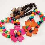 2 Strand Coco Wood Stretch Bracelet w/Carved Flower  .45 ea