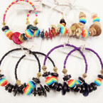 Rainbow & Wood Beaded Fashion Earring Mixed Colors .45 ea