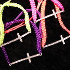 "Neon Bright Macrame Bracelet w/ 2"" Clear Stone Cross .45 ea"