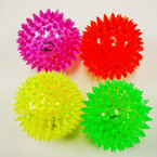"Big 3"" Spikey Flashing Sqeakie Ball Asst Colors IN DISPLAY BX  .58 ea"