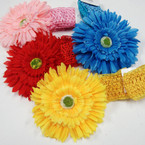"4.5"" Sunflower Bow on Crochet Headband .50 ea"