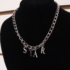"16"" Silver Choker Chain Necklace w/ STAR Letter Pendant  .25 ea"