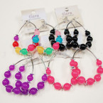 Big Asst Color Candy Bead Hoop Fashion Earrings @ .45 ea