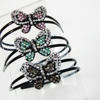 2 Line Black Headbands w/ Two Tone Acrylic Stone Butterfly @ .25 ea