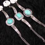Cast Silver Fashion Bracelet w/ 3 Style Turquoise Stones .56 ea