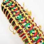 Rasta Theme Teen Leather Bracelet w/ Ying Yang .54 ea