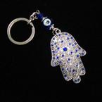 """3"""" Silver w/ Stone Crystals Hamsa Keychain w/Glass Eye Bead .56 ea"""