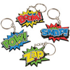 "2"" Super Hero Mixed Style Keychains 12 per pk @ .31 ea"