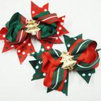 "5.5"" Multi Ribbon Gator Clip Bow w/ GOLD Christmas Tree .54 ea"