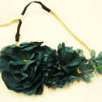 "7"" Wide Fall Color Flower Headbands w/ Elastic Back .54 ea"