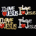 "Beautiful 2"" Gold/Sil w/ Crystal I Love JESUS Broaches 2 Styles .56 ea"