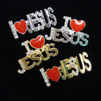 "2"" Gold/Silver Crystal I Love JESUS Broaches 2 Styles .56 ea"