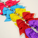 "6"" X 5.5"" Tail Gator Clip Bows w/ Sparkle Strips Mixed Colors .54 ea"