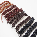 Teen Leather Bracelet Popular Braided Style .54 ea