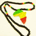 "30"" Wood Bead Necklace w/ Colorful Map of Africa 3"" Pendant .56 ea"