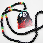 "30"" Rasta Wood Bead Necklace w/ Colorful Marley  3"" Pendant .56 ea"