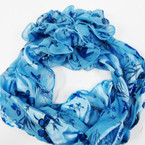 "10""X 56"" Scarf w/ 6"" Jaw Clip Bow Blue Butterfly Print $ 2.00 ea set"