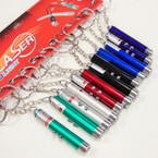 "2.5"" Asst Color 2 in 1 Laser Pointer & LED Light Keychains .65 ea"