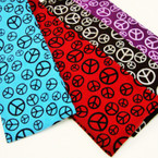 "2.5"" Peace Sign Stretch Headbands Asst Colors .25 ea"