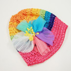 NEW ! Kids Multi Color Crochet Cap w/ Multi Color Flower .54 ea