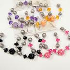 """2.5"""" Silver Hoop Earrings w/ Color & Silver Beads  .45  per pair"""