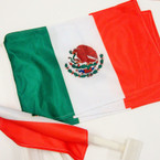 "Best Quality 12""X18"" Mexico  Car Flags 10 per pk @ .75 ea"