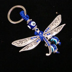 Blue Crystal Stone Dragonfly Keychain w/ Eye Beads .54 ea