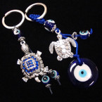 2 Style Silver Turtle Keychains w/ Dangle Eye Beads .54 ea