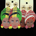 "2.5"" Wood  Asst Color Lady Earrings w/ Fancy Turbin  CLIP ON's  .50 ea"