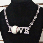 "16""  Silver Chain Necklace Set w/ Cry. Stone I Love Baseball sold by pc $ 2.50 ea set"