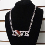 "16""  Silver Chain Necklace Set w/ Cry. Stone I Love Football sold by pc $ 2.50 ea set"