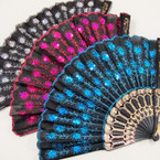 "9"" Black Handle Fabric Fan w/ Sequin Sunbrust  12 per pk  .56 ea"