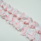 "3.5-4"" Two Tone Light Pink /White Color Gator Clip Fashion Bow .27 ea"