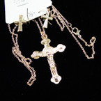 "20""  Gold Lightweight Crucifix Pendant & Earrings Set  .45 each set"