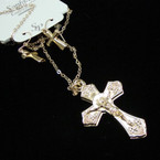 "20""  Gold Lightweight DBL Sided Crucifix Pendant & Earrings Set  .25 each set"