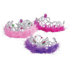 Feather Boa Princess Tiaras Asst Colors  .54ea