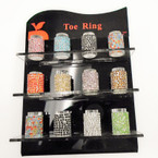 Silver Stretch Rhinestone Toe Ring Asst Color Stones 120 pc display .40 ea