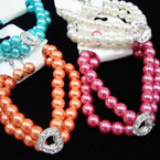2 Pack Glass Bead Bracelet Set w/ Crystal Stone Heart .45  per set